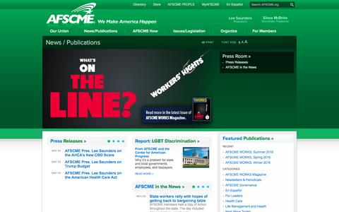 Screenshot of Press Page afscme.org - AFSCME | News / Publications - captured May 28, 2017