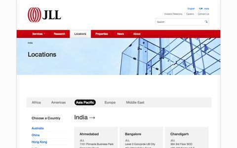 Screenshot of Locations Page joneslanglasalle.co.in - Locations - captured Oct. 4, 2014
