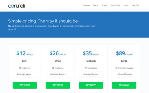 Screenshot of Pricing Page centreli.com - Pricing | Centreli - captured Oct. 21, 2017