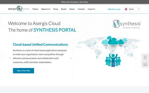 Screenshot of Home Page asergiscloud.com - Asergis Cloud - Synthesis All In One Business Services - captured Nov. 3, 2018
