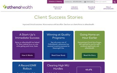 Screenshot of Testimonials Page athenahealth.com - Case Study Hub Landing Page | athenahealth - captured Oct. 27, 2017