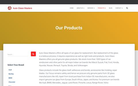 Screenshot of Products Page autoglassmasters.in - Car Glass | Car Windshield | Windshield Price | Auto Glass Masters - captured Oct. 9, 2019