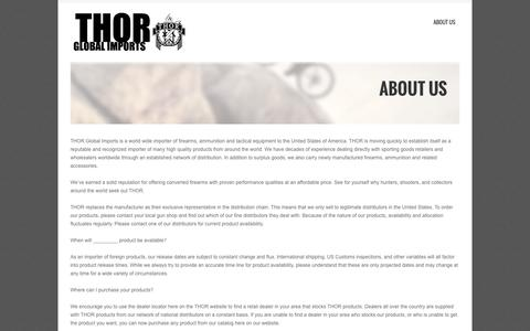 Screenshot of Home Page About Page thorimports.com - THOR Global Imports   Munitions and Arms Import and Distribution - captured Oct. 7, 2014