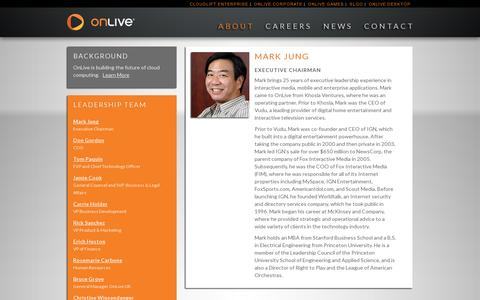 Screenshot of Team Page onlive.com - OnLive Leadership: Mark jung - captured July 21, 2014