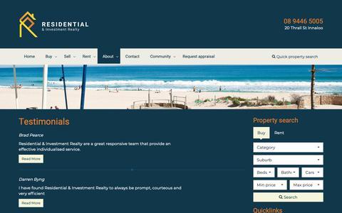 Screenshot of Testimonials Page residentialrealty.com.au - Residential Realty & Investment - Testimonials - captured Oct. 18, 2018