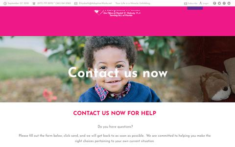Screenshot of Contact Page adoptionworks.net - Contact Us – Adoption Law Attorney | Law Offices of Elizabeth R. Berkowitz, P.A. in Palm Beach - captured Sept. 27, 2018