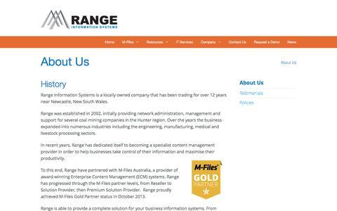Screenshot of About Page rangeis.com.au - Range Information Systems | M-Files Document Management & IT - captured Feb. 13, 2016