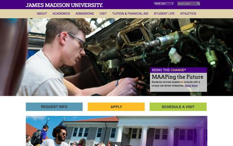 Screenshot of Home Page jmu.edu - James Madison University - JMU - captured Sept. 22, 2018