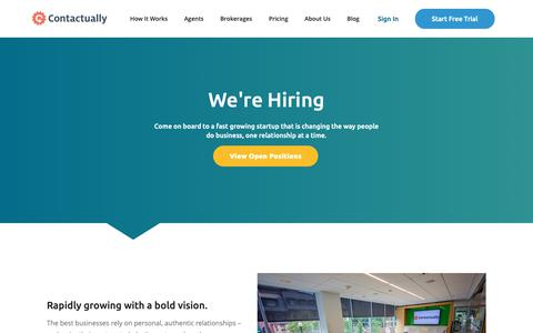 Screenshot of Jobs Page contactually.com - Want to work for a Relationship Management Company? | Contactually - captured Oct. 25, 2018