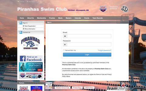 Screenshot of Press Page teamunify.com - Piranhas Swim Club : Sign In - captured Dec. 2, 2016