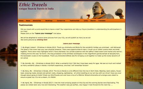 Screenshot of Testimonials Page ethictravels.com - Testimonials - captured Oct. 4, 2014