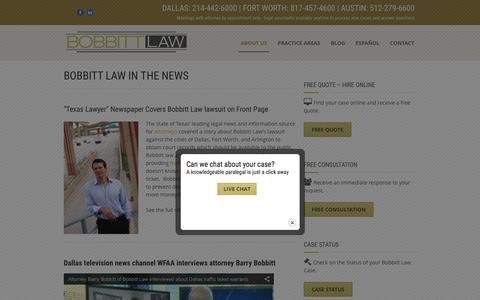 Screenshot of Press Page bobbittlaw.com - Bobbitt law in the News | Dallas, Fort Worth, Austin | Bobbitt Law - captured Feb. 7, 2016