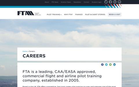 Screenshot of Jobs Page fta-global.com - Careers - Pilot Flight Training School UK - FTA - captured Feb. 9, 2016