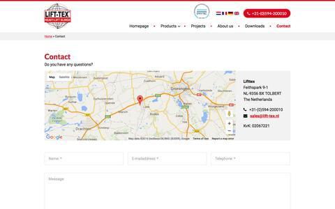Screenshot of Contact Page lift-tex.nl - Contact - Lifttex - captured Jan. 29, 2016