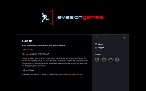 Screenshot of Support Page evasiongames.com - Evasion Games • Support - captured Sept. 30, 2014
