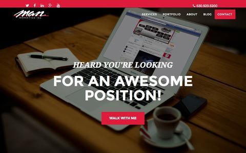 Screenshot of Jobs Page manmarketing.com - Marketing Careers - captured Oct. 29, 2014