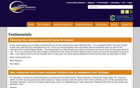 Screenshot of Testimonials Page mychamber.org - Testimonials - Corona Chamber of Commerce, CA - captured Feb. 8, 2016