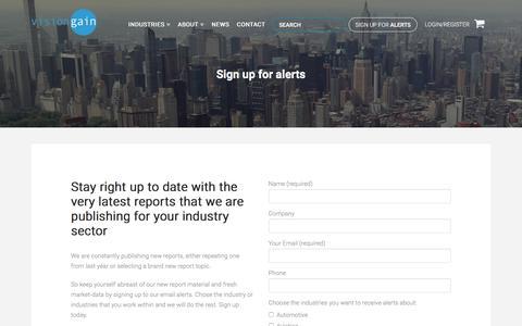 Screenshot of Signup Page visiongain.com - Sign up for alerts - Visiongain - captured Sept. 20, 2018