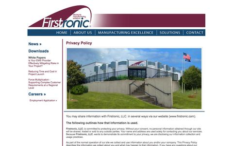 Screenshot of Privacy Page firstronic.com - Firstronic :: Electronic Manufacturing Solutions :: Contact Firstronic - captured Oct. 6, 2014