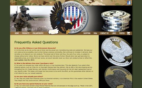 Screenshot of FAQ Page americasdefenderscoins.com - FAQs | America's Defenders Coins | Silver Ranger Coins | Silver Coins | Military Challenge Coins | .999 Silver - captured Oct. 4, 2014