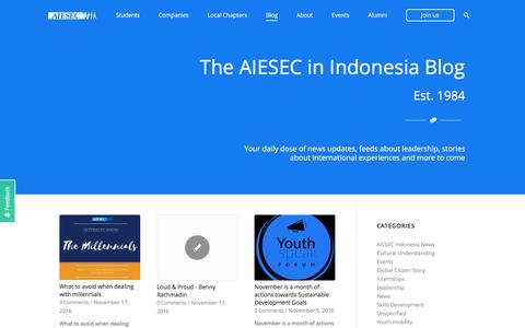 Screenshot of Blog aiesec.or.id - AIESEC Blog | Student, Career Advice, Youth Topics - captured Nov. 19, 2016