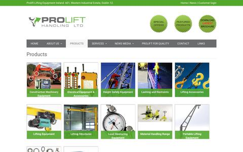 Screenshot of Products Page prolift.ie - Products | Prolift Lifting Equipment Ireland - captured Aug. 29, 2017