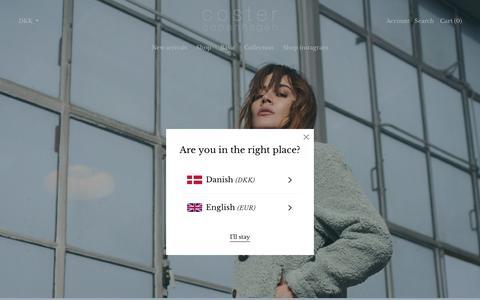 Screenshot of Home Page costercopenhagen.com - Coster Copenhagen Brandsite and Online Shop – costercopenhagen.com - captured July 8, 2019