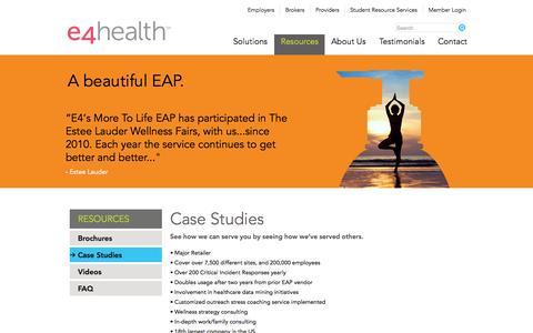Screenshot of Case Studies Page e4healthinc.com - Case Studies   E4 Health   Irving, Texas - captured June 16, 2015