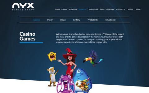 Screenshot of Products Page nyxgaminggroup.com - Casino Games | NYX Gaming - captured Feb. 13, 2016