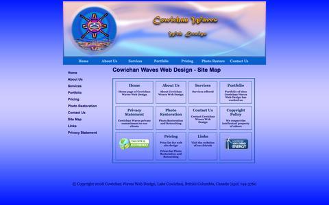 Screenshot of Site Map Page cowichanwaves.com - Cowichan Waves Web Design - Site Map - captured Oct. 3, 2014