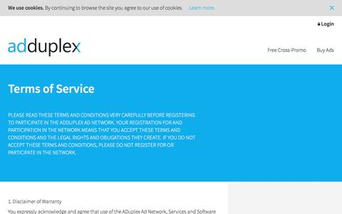 Screenshot of Terms Page adduplex.com - Terms of Service   AdDuplex - captured Dec. 23, 2015