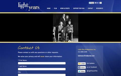 Screenshot of Contact Page lightyearsfilm.com - Contact us at Light Years documentary   Light Years - captured Oct. 3, 2014