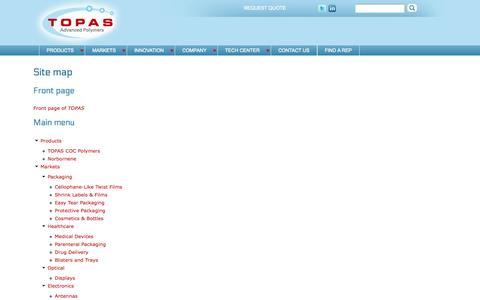 Screenshot of Site Map Page topas.com - Site map   TOPAS - captured Oct. 9, 2014
