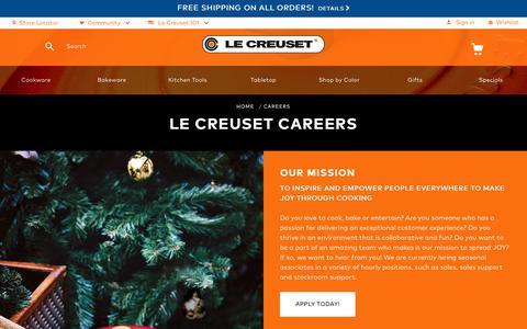 Screenshot of Jobs Page lecreuset.com - Careers   Le Creuset - captured Oct. 8, 2017