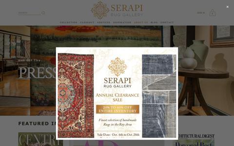 Screenshot of Press Page serapiruggallery.com - Press — Serapi Rug Gallery - captured Oct. 19, 2018