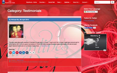 Screenshot of Testimonials Page skydive.ie - Skydive.ie | Ireland's Largest & Oldest Skydiving Provider | Irish Parachute Club - captured Feb. 15, 2016