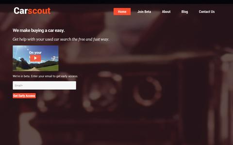 Screenshot of Home Page carscout.co - Carscout: Access a quality expert to help you save on cars - captured Sept. 30, 2014