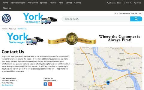 Screenshot of Contact Page yorkvw.com - Contact York Volkswagen in York Pennsylvania - captured Feb. 13, 2016