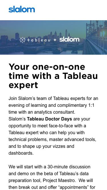 Your one-on-one time with a Tableau expert