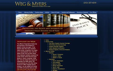 Screenshot of Site Map Page wegandmyers.com - Site Map | New York Insurance Lawyer | Insurance Law Attorney - captured Oct. 7, 2014