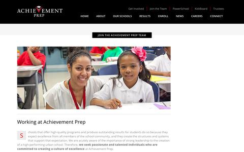 Screenshot of Jobs Page achievementprep.org - Achievement Prep | Join the Achievement Prep Team - Achievement Prep - captured July 5, 2017