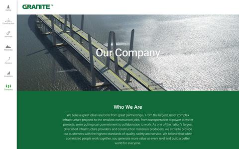 Screenshot of About Page graniteconstruction.com - Our Company | Granite Construction - captured July 23, 2018