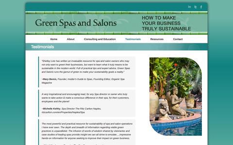 Screenshot of Testimonials Page greenspasandsalons.com - Testimonials | Green Spas and Salons - captured Oct. 7, 2014