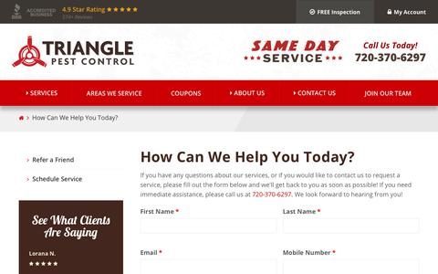 Screenshot of Contact Page trianglepest.com - How Can We Help You Today? | Triangle Pest Control - captured Oct. 20, 2018