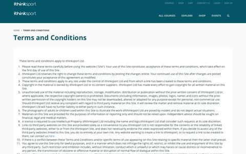 Screenshot of Terms Page ithinksport.com - Terms and Conditions - ithinksport - captured July 13, 2018