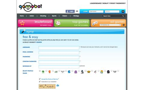 Screenshot of Signup Page gamobot.com - Gamobot - Register and start chatting with users, earn points, and redeem them for prizes - captured Nov. 2, 2014