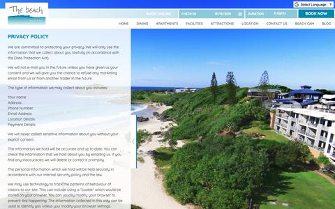 Screenshot of Privacy Page thebeachcabarita.com.au - Privacy Policy - The Beach Cabarita - captured Oct. 18, 2018