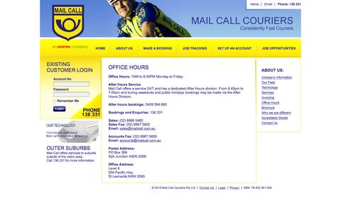 Screenshot of Hours Page mailcall.com.au - Mail Call Couriers - captured Feb. 4, 2016