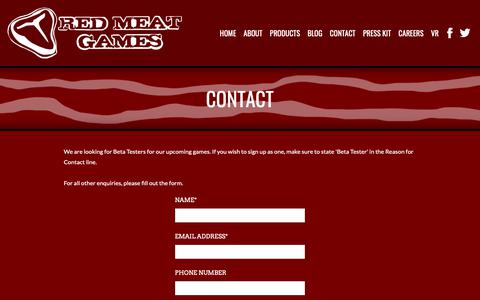 Screenshot of Contact Page redmeatgames.ca - Contact - Red Meat Games - captured Oct. 20, 2018