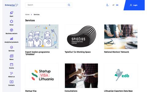 Screenshot of Services Page enterpriselithuania.com - Services - Versli Lietuva - captured July 19, 2018